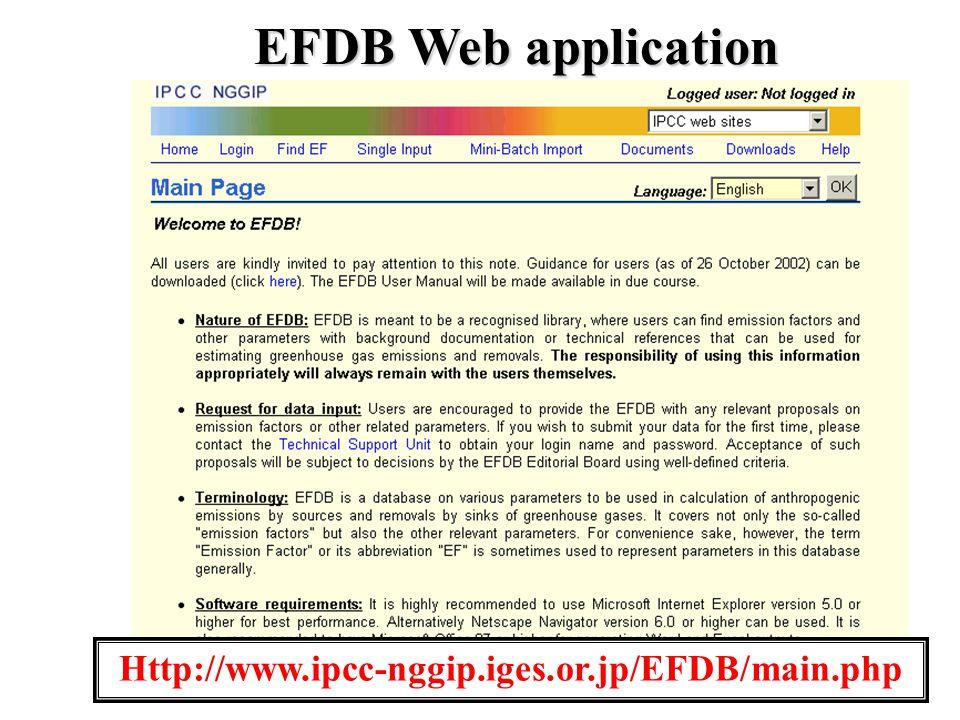 10 Http://www.ipcc-nggip.iges.or.jp/EFDB/main.php EFDB Web application