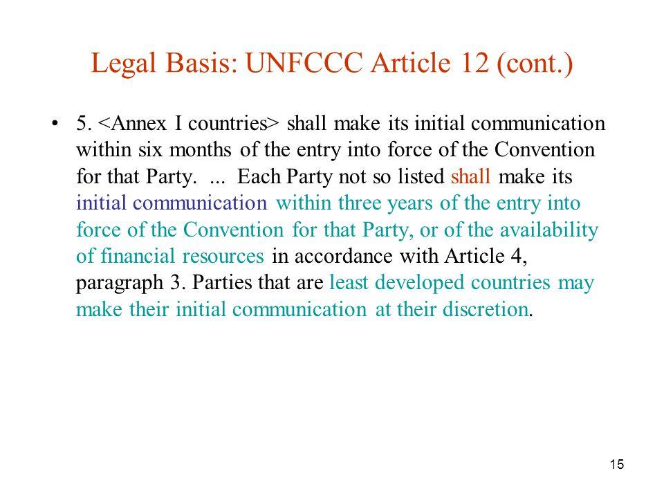 15 Legal Basis: UNFCCC Article 12 (cont.) 5.