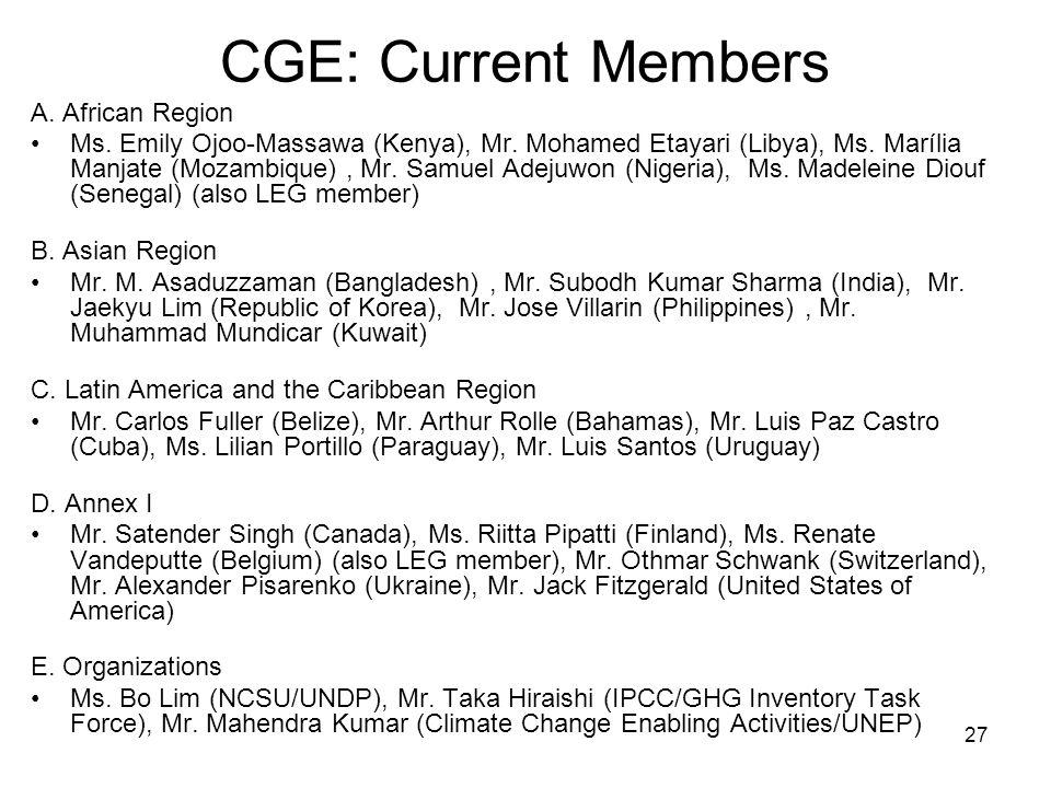 27 CGE: Current Members A. African Region Ms. Emily Ojoo-Massawa (Kenya), Mr. Mohamed Etayari (Libya), Ms. Marília Manjate (Mozambique), Mr. Samuel Ad