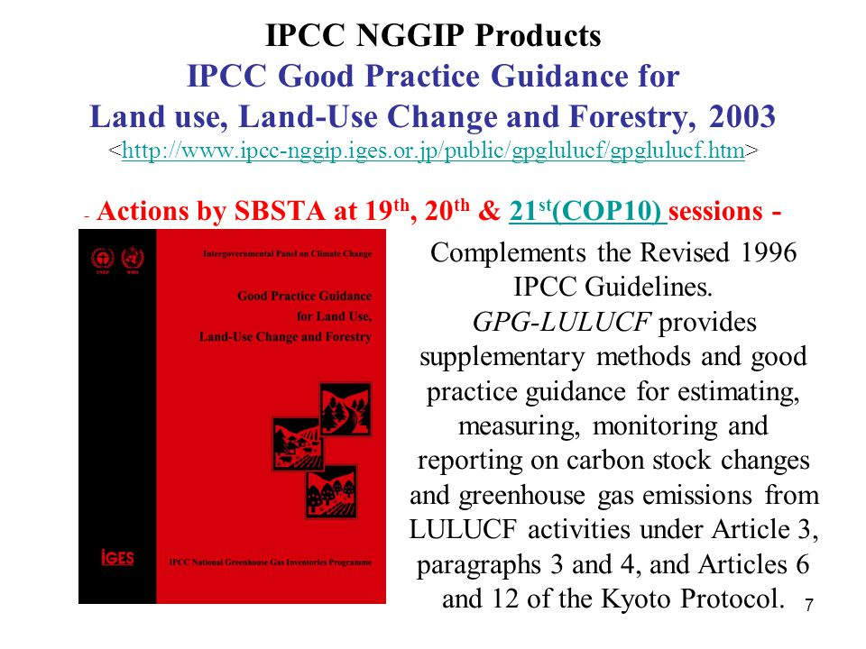 7 IPCC NGGIP Products IPCC Good Practice Guidance for Land use, Land-Use Change and Forestry, 2003 - Actions by SBSTA at 19 th, 20 th & 21 st (COP10)