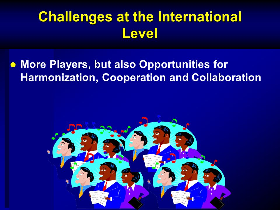 Challenges at the International Level More Players, but also Opportunities for Harmonization, Cooperation and Collaboration