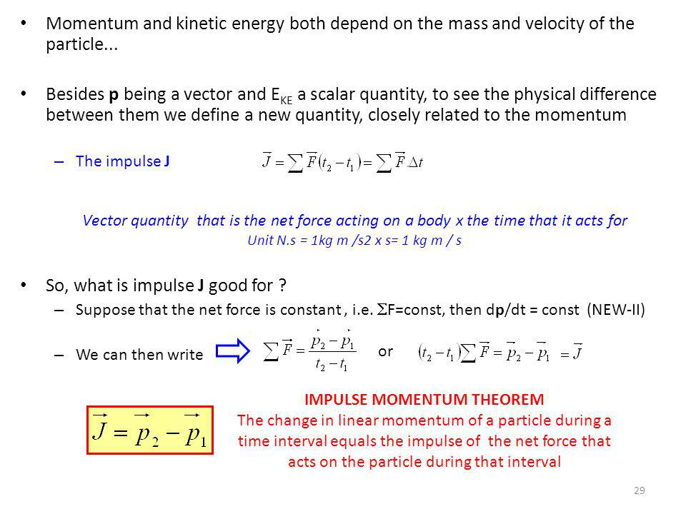 Momentum and kinetic energy both depend on the mass and velocity of the particle... Besides p being a vector and E KE a scalar quantity, to see the ph