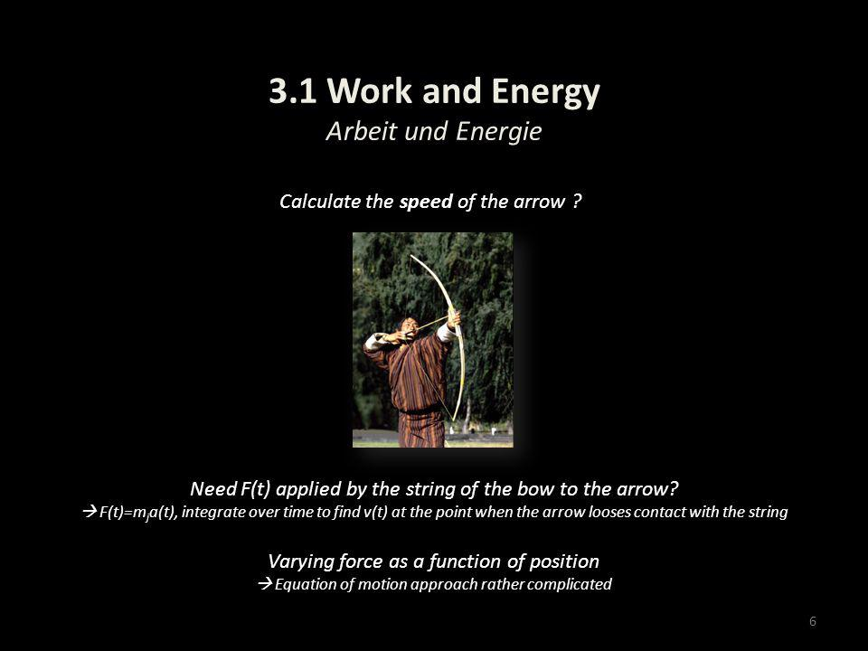 3.1 Work and Energy Arbeit und Energie 6 Calculate the speed of the arrow ? Need F(t) applied by the string of the bow to the arrow? F(t)=m j a(t), in