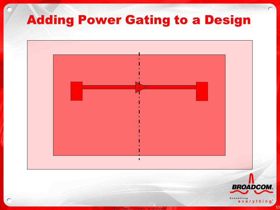 13 © 2007 Broadcom Corporation. All rights reserved. Adding Power Gating to a Design