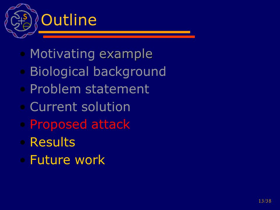13/38 Outline exampleMotivating example Biological background Problem statement Current solution Proposed attack Results Future work