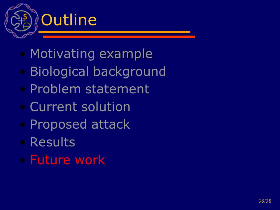 36/38 Outline exampleMotivating example Biological background Problem statement Current solution Proposed attack Results Future work