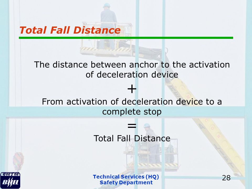 Technical Services (HQ) Safety Department 28 Total Fall Distance The distance between anchor to the activation of deceleration device + From activatio