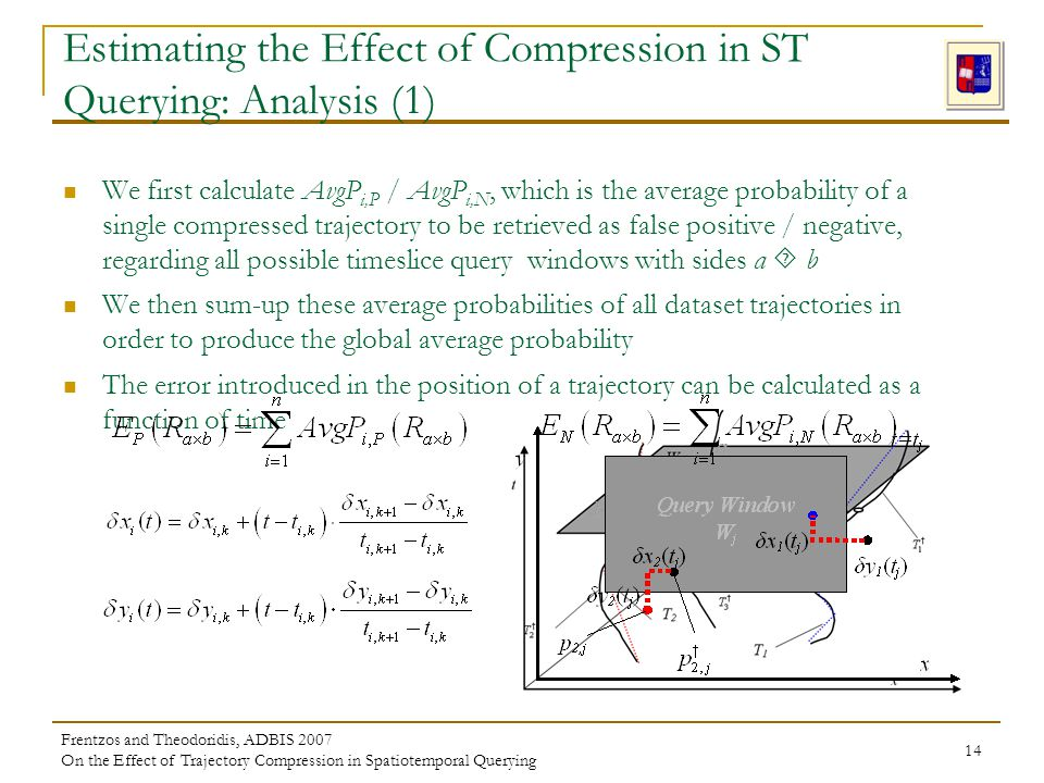 Frentzos and Theodoridis, ADBIS 2007 On the Effect of Trajectory Compression in Spatiotemporal Querying 14 Estimating the Effect of Compression in ST Querying: Analysis (1) We first calculate AvgP i,P / AvgP i,N, which is the average probability of a single compressed trajectory to be retrieved as false positive / negative, regarding all possible timeslice query windows with sides a b We then sum-up these average probabilities of all dataset trajectories in order to produce the global average probability The error introduced in the position of a trajectory can be calculated as a function of time
