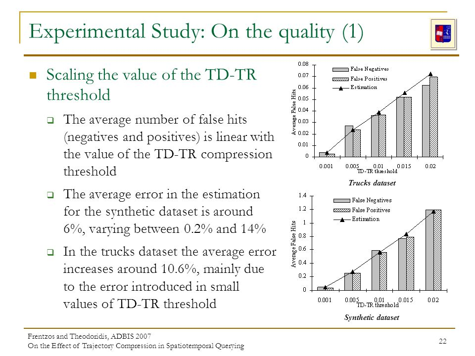 Frentzos and Theodoridis, ADBIS 2007 On the Effect of Trajectory Compression in Spatiotemporal Querying 22 Experimental Study: On the quality (1) Scaling the value of the TD-TR threshold The average number of false hits (negatives and positives) is linear with the value of the TD-TR compression threshold The average error in the estimation for the synthetic dataset is around 6%, varying between 0.2% and 14% In the trucks dataset the average error increases around 10.6%, mainly due to the error introduced in small values of TD-TR threshold Trucks dataset Synthetic dataset