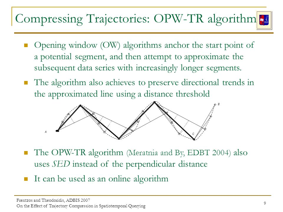 Frentzos and Theodoridis, ADBIS 2007 On the Effect of Trajectory Compression in Spatiotemporal Querying 9 Opening window (OW) algorithms anchor the st