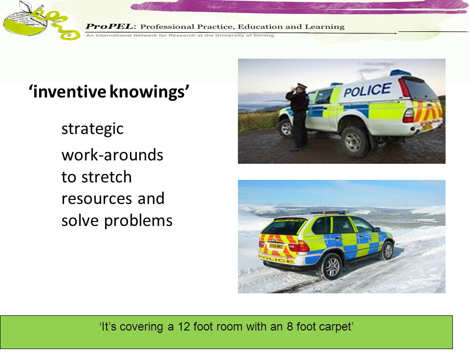inventive knowings strategic work-arounds to stretch resources and solve problems Its covering a 12 foot room with an 8 foot carpet