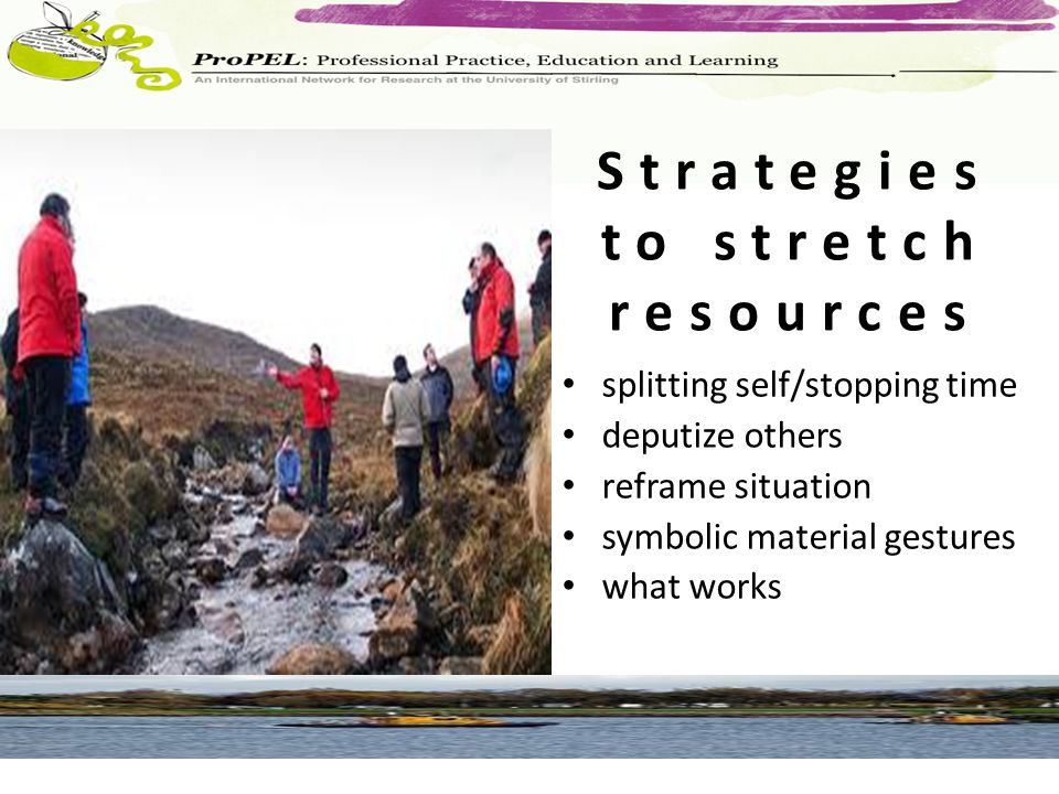 Strategies to stretch resources splitting self/stopping time deputize others reframe situation symbolic material gestures what works