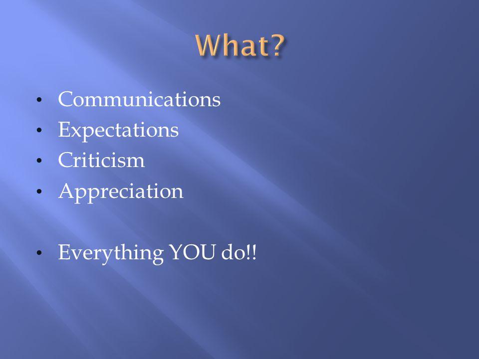 Communications Expectations Criticism Appreciation Everything YOU do!!