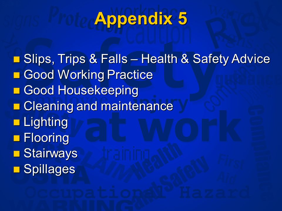 Slide 12 Appendix 5 Slips, Trips & Falls – Health & Safety Advice Slips, Trips & Falls – Health & Safety Advice Good Working Practice Good Working Practice Good Housekeeping Good Housekeeping Cleaning and maintenance Cleaning and maintenance Lighting Lighting Flooring Flooring Stairways Stairways Spillages Spillages