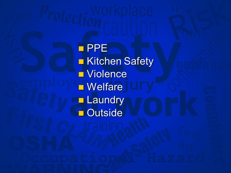 Slide 9 PPE PPE Kitchen Safety Kitchen Safety Violence Violence Welfare Welfare Laundry Laundry Outside Outside