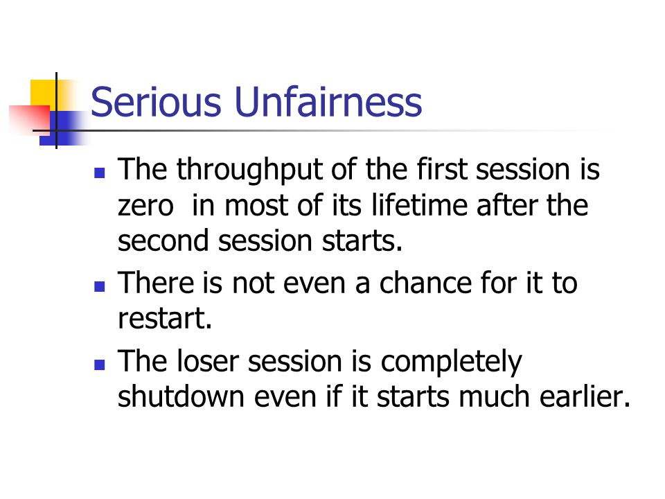Serious Unfairness The throughput of the first session is zero in most of its lifetime after the second session starts. There is not even a chance for