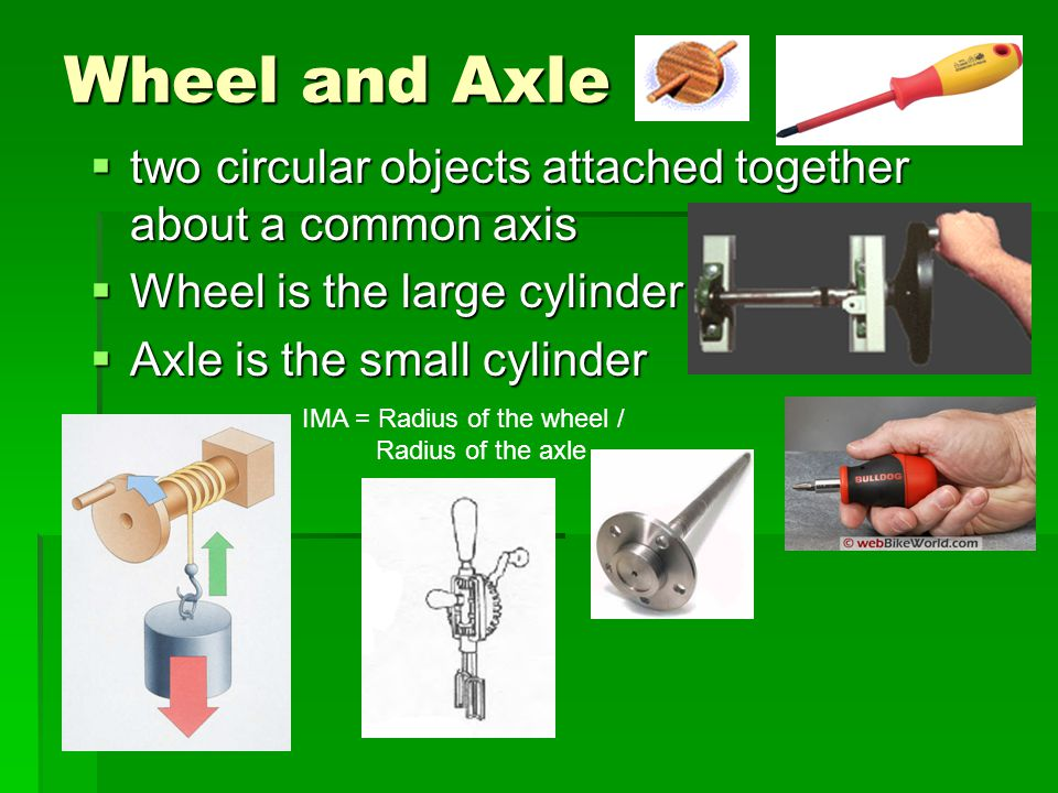 Wheel and Axle two circular objects attached together about a common axis two circular objects attached together about a common axis Wheel is the larg