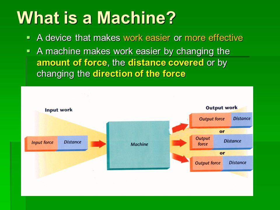 What is a Machine? A device that makes work easier or more effective A device that makes work easier or more effective A machine makes work easier by