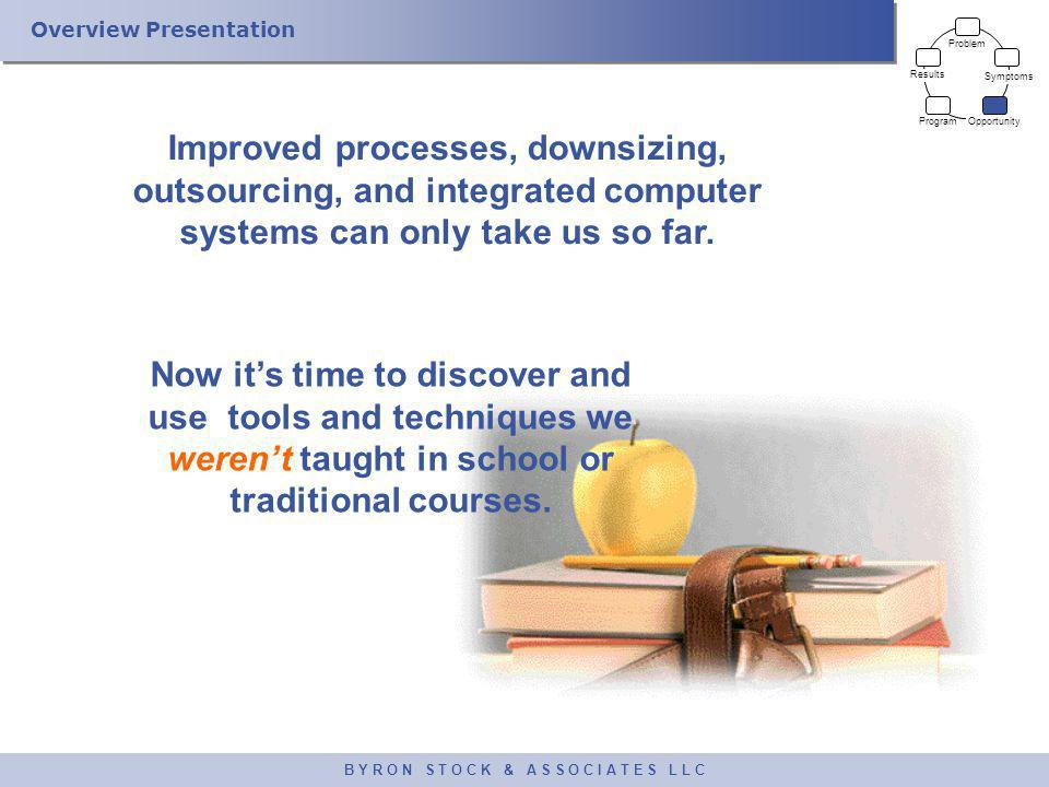 Overview Presentation B Y R O N S T O C K & A S S O C I A T E S L L C Improved processes, downsizing, outsourcing, and integrated computer systems can