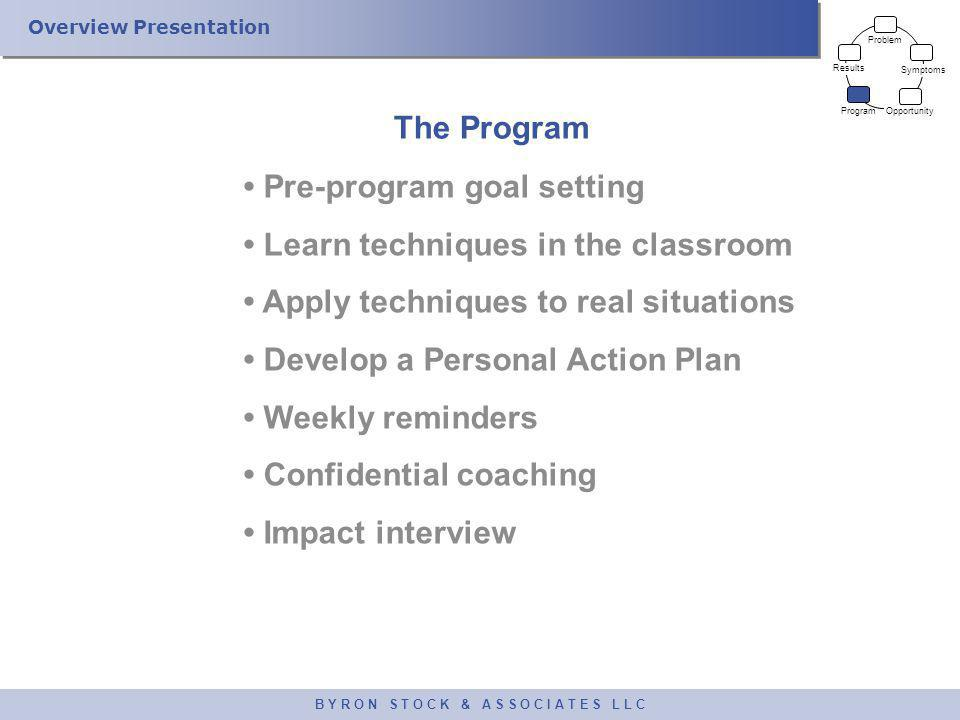 Overview Presentation B Y R O N S T O C K & A S S O C I A T E S L L C The Program Pre-program goal setting Learn techniques in the classroom Apply tec