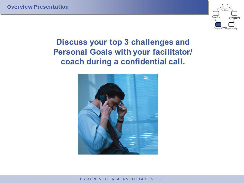 Overview Presentation B Y R O N S T O C K & A S S O C I A T E S L L C Discuss your top 3 challenges and Personal Goals with your facilitator/ coach du