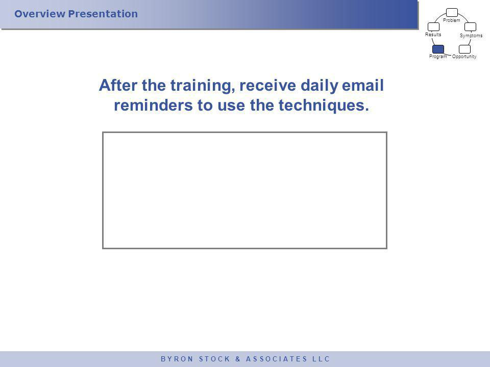 Overview Presentation B Y R O N S T O C K & A S S O C I A T E S L L C After the training, receive daily email reminders to use the techniques. Problem
