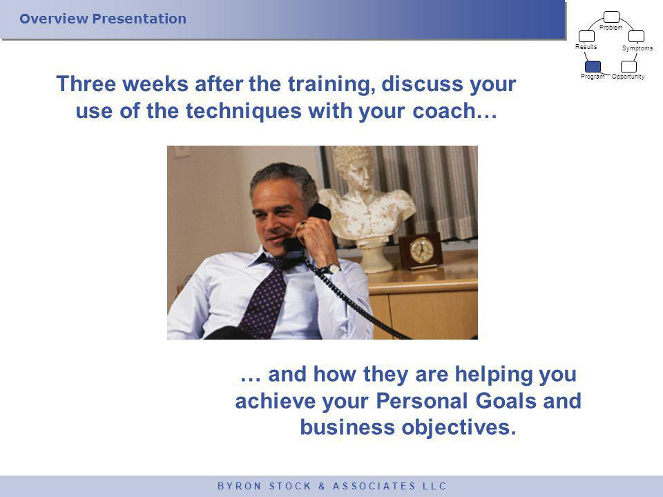 Overview Presentation B Y R O N S T O C K & A S S O C I A T E S L L C Three weeks after the training, discuss your use of the techniques with your coa