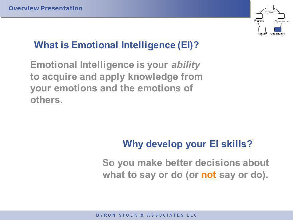 Overview Presentation B Y R O N S T O C K & A S S O C I A T E S L L C What is Emotional Intelligence (EI).