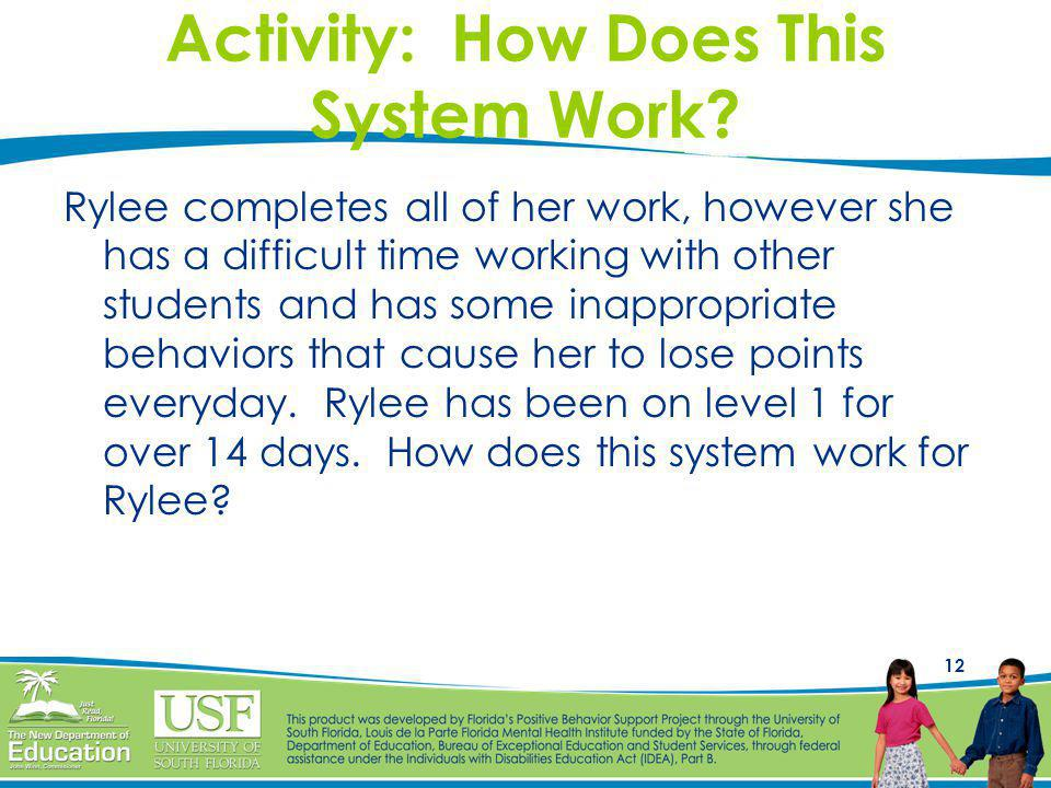 12 Activity: How Does This System Work? Rylee completes all of her work, however she has a difficult time working with other students and has some ina