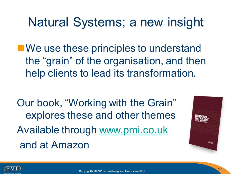 Copyright © 2009 Process Management International Ltd Natural Systems; a new insight We use these principles to understand the grain of the organisati