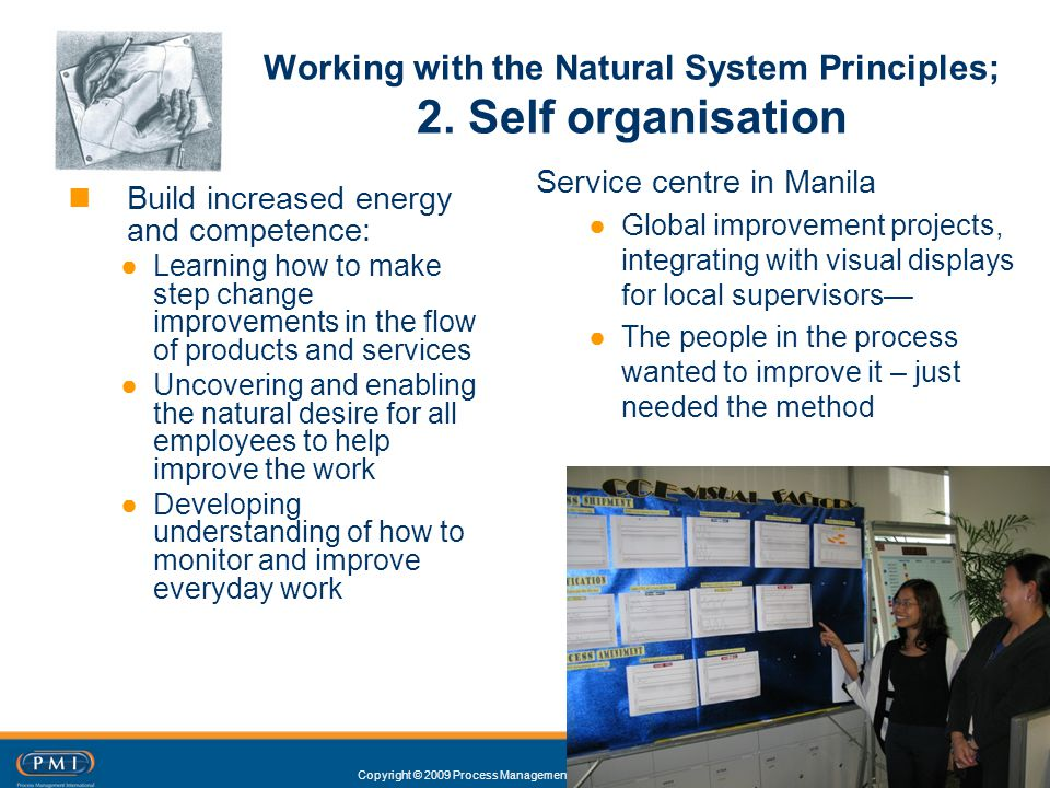 Copyright © 2009 Process Management International Ltd Working with the Natural System Principles; 2. Self organisation 16 Build increased energy and c