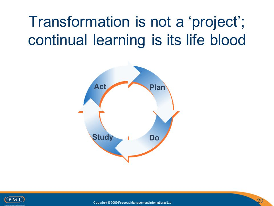 Copyright © 2009 Process Management International Ltd 20 Transformation is not a project; continual learning is its life blood