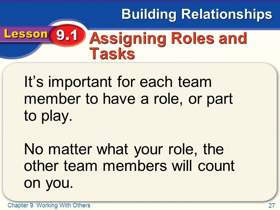 27 Chapter 9 Working With Others Building Relationships Assigning Roles and Tasks Its important for each team member to have a role, or part to play.