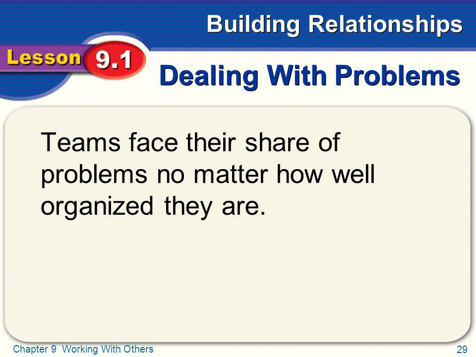 29 Chapter 9 Working With Others Building Relationships Dealing With Problems Teams face their share of problems no matter how well organized they are