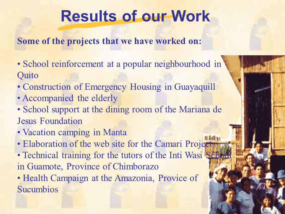 Results of our Work Some of the projects that we have worked on: School reinforcement at a popular neighbourhood in Quito Construction of Emergency Ho