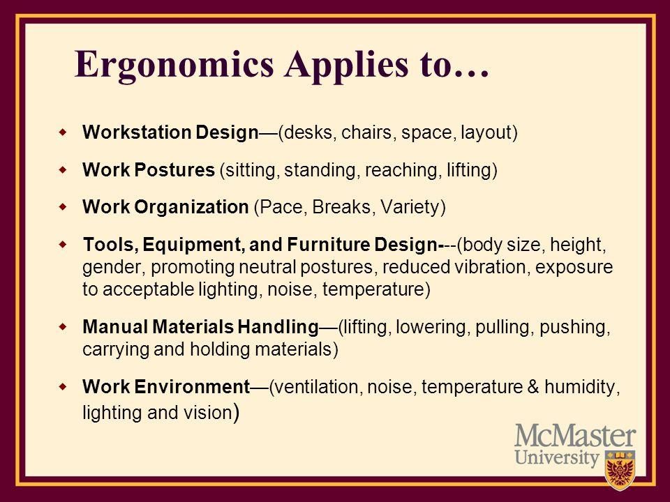Ergonomics Applies to… Workstation Design(desks, chairs, space, layout) Work Postures (sitting, standing, reaching, lifting) Work Organization (Pace,