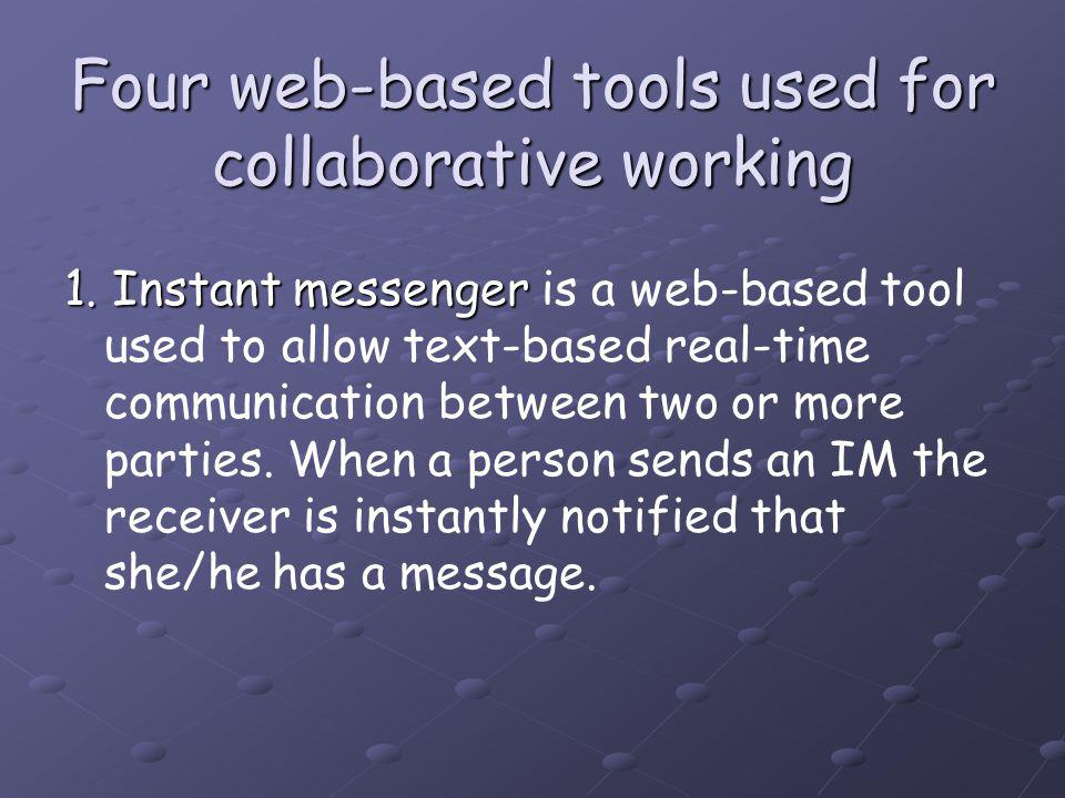 Four web-based tools used for collaborative working 1.