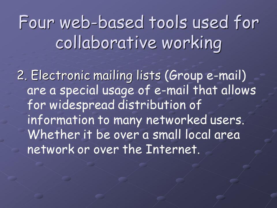 Four web-based tools used for collaborative working 2.