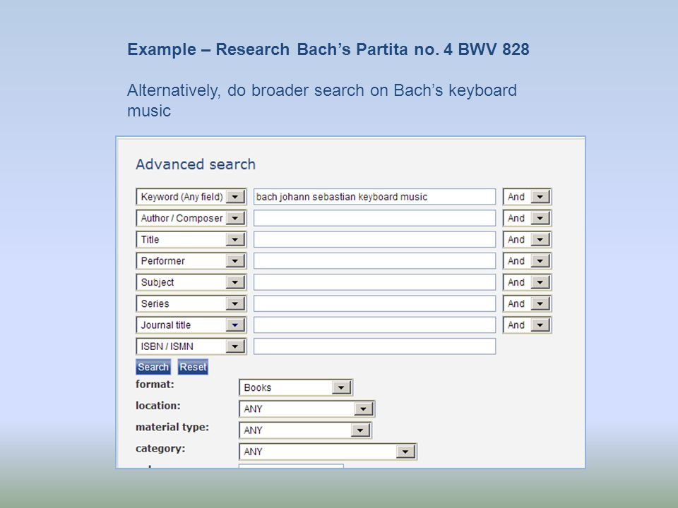Example – Research Bachs Partita no.