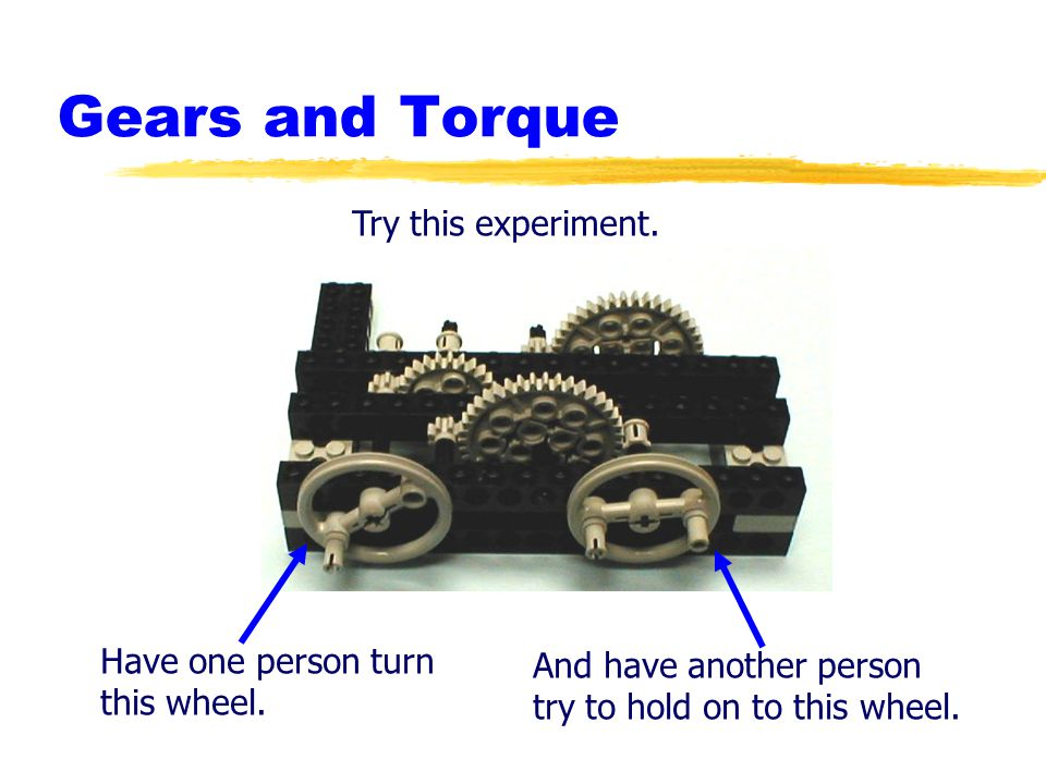 Gears and Torque Try this experiment.Have one person turn this wheel.