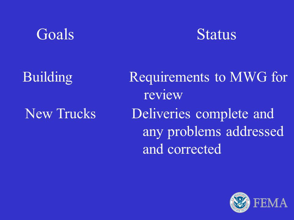 FEMA Truck Storage Recommendations These items are basic suggestions for the storage requirements of FEMA issued trucks for DMAT teams. The items can