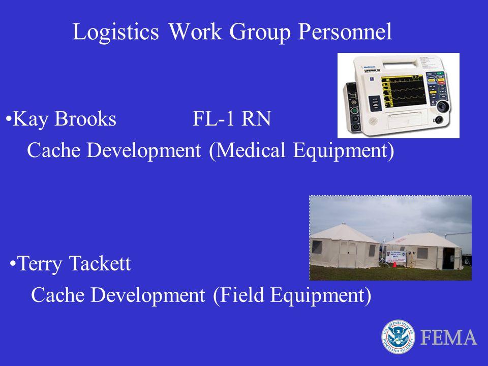 Logistics Work Group Personnel Bob Daley MSuRT East Logistics Chief Val Deutsch FL-5 DMAT Communication Officer Brody Hubbard AR-1 DMAT Logistics Chie