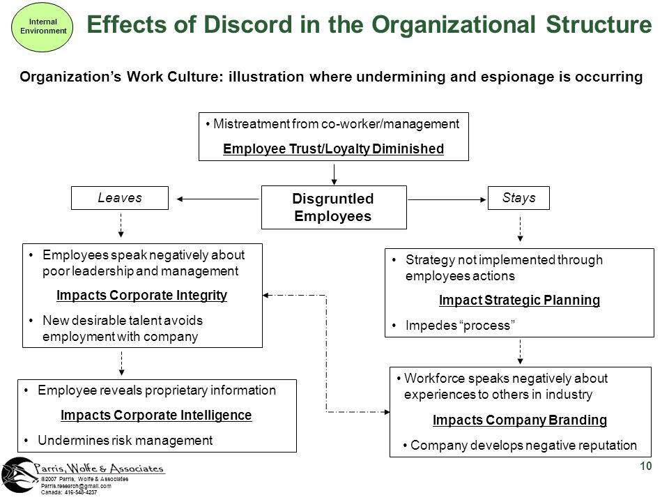 Effects of Discord in the Organizational Structure Internal Environment 10 ©2007 Parris, Wolfe & Associates Parris.research@gmail.com Canada: 416-548-