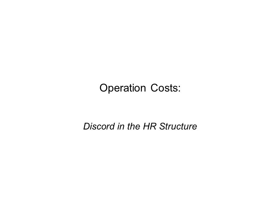 Operation Costs: Discord in the HR Structure