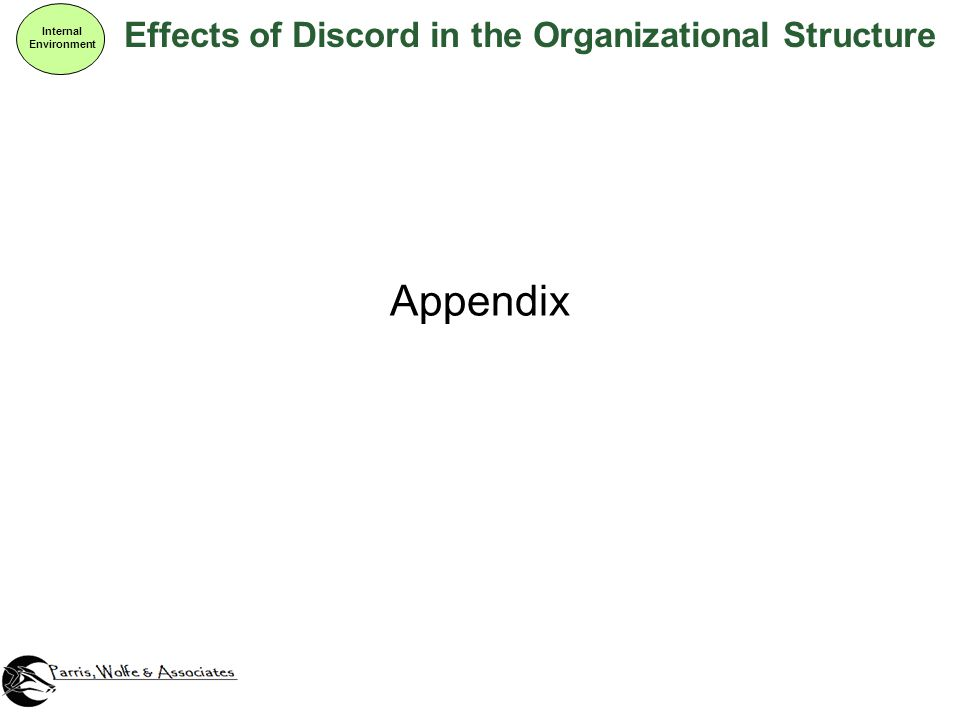 Effects of Discord in the Organizational Structure Internal Environment Appendix