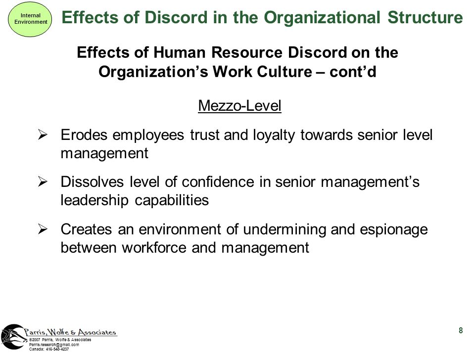 Effects of Discord in the Organizational Structure Internal Environment 8 ©2007 Parris, Wolfe & Associates Parris.research@gmail.com Canada: 416-548-4237 Effects of Human Resource Discord on the Organizations Work Culture – contd Mezzo-Level Erodes employees trust and loyalty towards senior level management Dissolves level of confidence in senior managements leadership capabilities Creates an environment of undermining and espionage between workforce and management