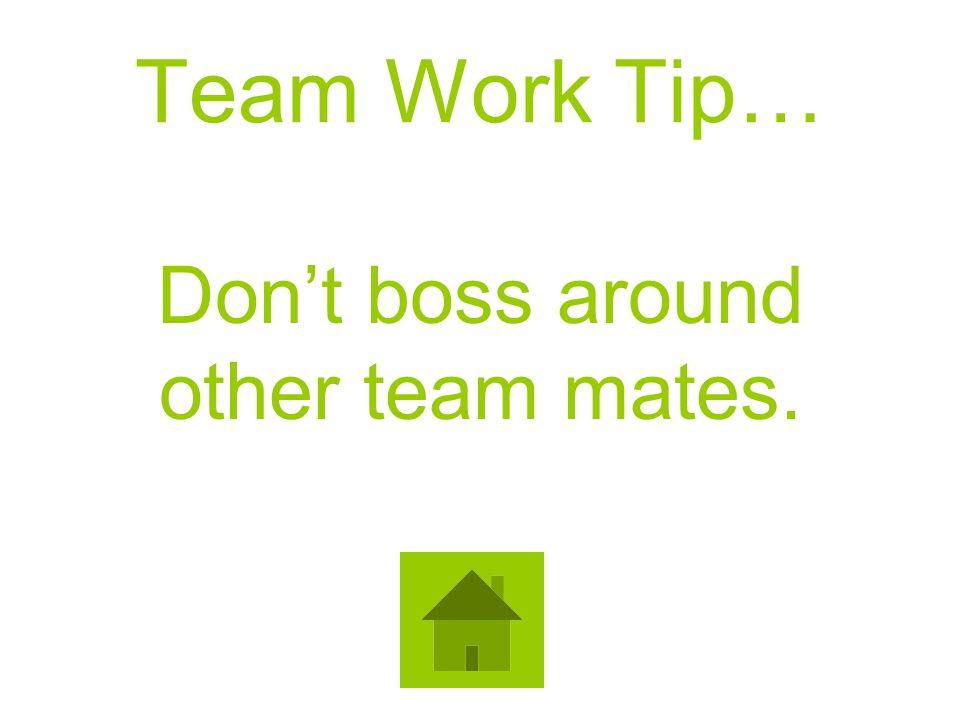 Team Work Tip… Dont boss around other team mates.