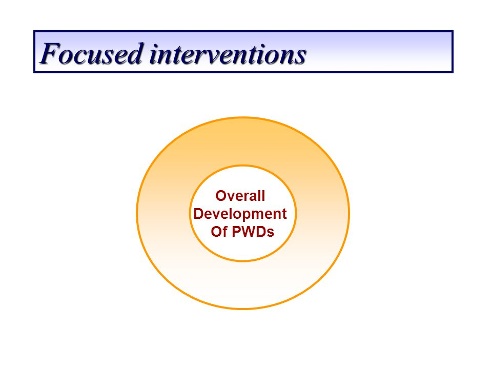 Focused interventions Overall Development Of PWDs