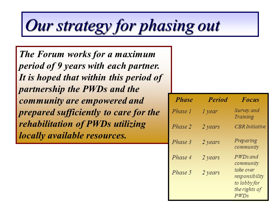 Our strategy for phasing out The Forum works for a maximum period of 9 years with each partner. It is hoped that within this period of partnership the