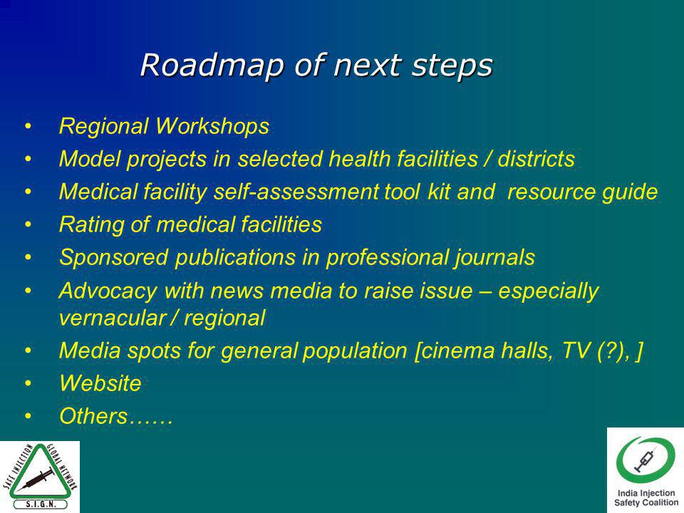 Regional Workshops Model projects in selected health facilities / districts Medical facility self-assessment tool kit and resource guide Rating of medical facilities Sponsored publications in professional journals Advocacy with news media to raise issue – especially vernacular / regional Media spots for general population [cinema halls, TV ( ), ] Website Others…… Roadmap of next steps